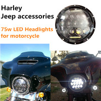 1PCS 7 MOTORCYCLE BLACK PROJECTOR DAYMAKER HID LED LIGHT BULB HEADLIGHT For Harley
