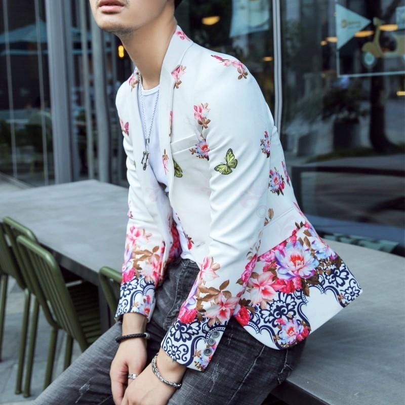 Floral Print Blazer Hombre Mens Stylish Blazer2018 Autumn Prom Blazers For Men Slim Fit Korean Style Suit Jacket Men-in Blazers from Men's Clothing    1