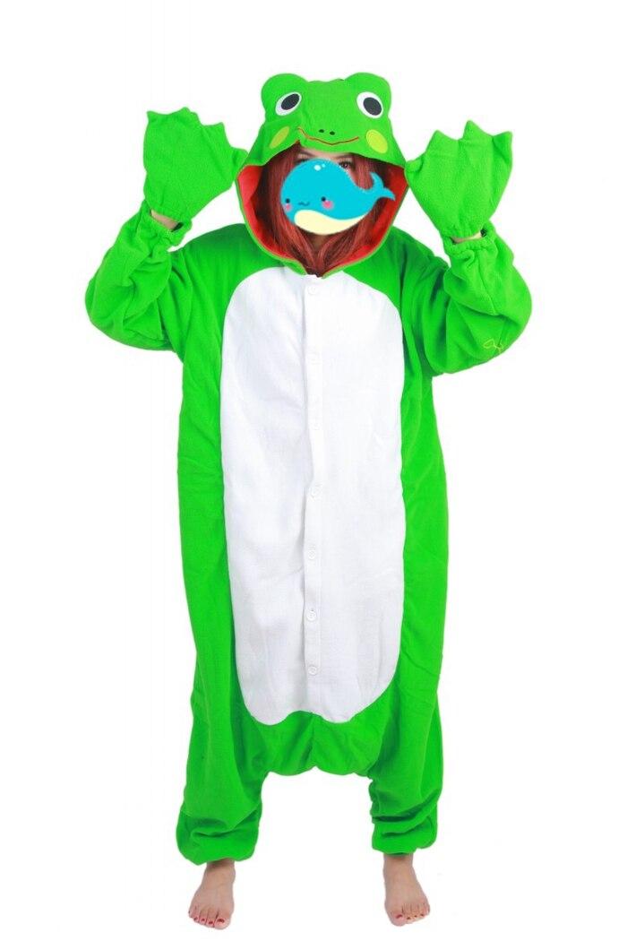 Unisex Fleece Adult Frog Onesies Animal Cosplay Costume Halloween Xmas Pajama