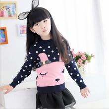 Thickening Cashmere Long Sleeve Pullover Knitted Sweater All-Match Pink Sweet Princess Printted Chararcter Dot Girl Clothes S095