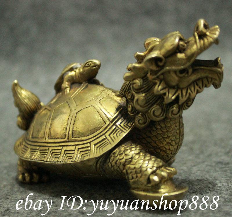 Populaire chinois laiton FengShui longévité Shou Dragon tortue tortue tortue Statue animaux jardin décoration 100% réel laiton - 5