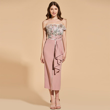 Tanpell strapless cocktail dress sleeveless empire tea length sheath gown lady party formal plus custom printed dresses