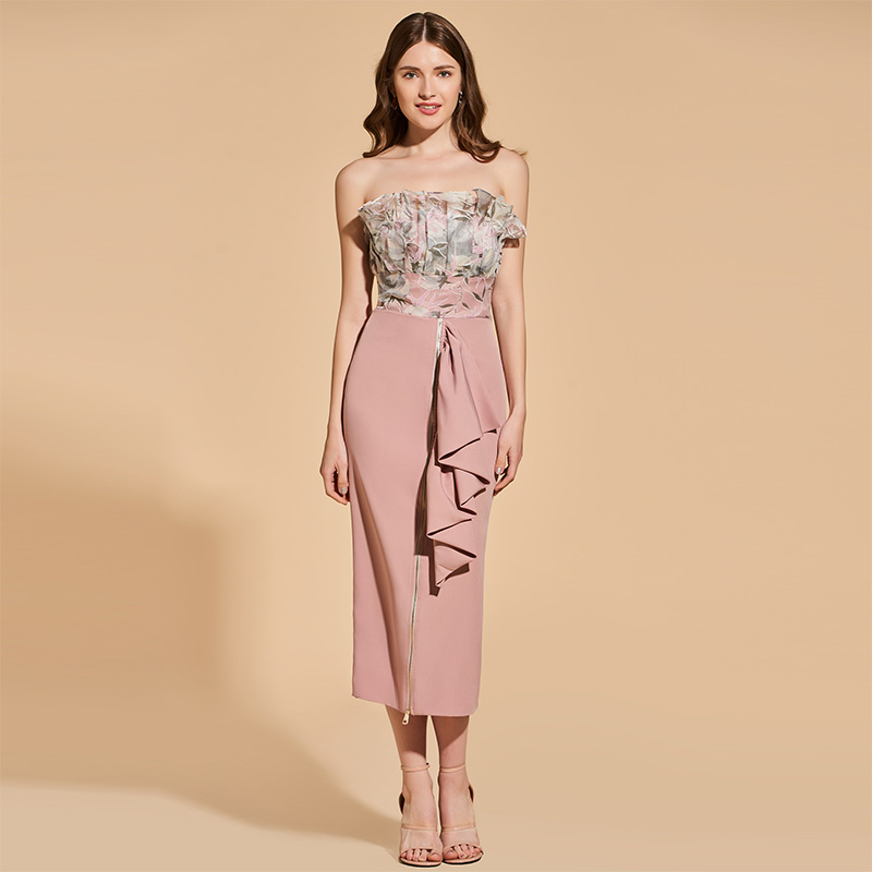 Tanpell strapless cocktail dress sleeveless empire tea length sheath gown lady party formal plus custom printed cocktail dresses