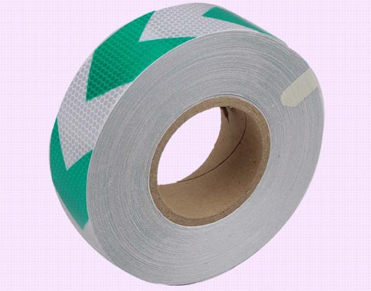 5cm*45M white green arrow reflective warning tape self adhesive reflective safety sign road traffic guidepost adhesive film