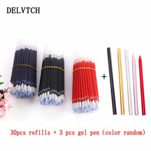 DELVTCH 0.5mm 30pcs/lot Gel Pen Refill Office Signature Rods For Handless Red Blue Black Gel Ink Refill Office School Supplies 0 5mm 30pcs lot gel pen refill needle tip and 3pcs gel pen suit office signature rods for handles office school supplies