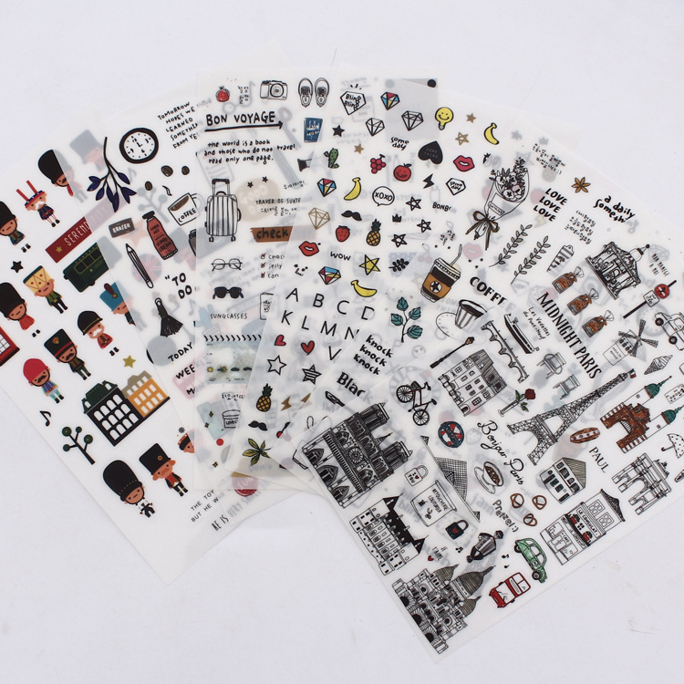 European Style Travel Diary Paper Sticker Decoration Planner Scrapbooking Label Sticker Kawaii Korean Gifts Stationary Stickers