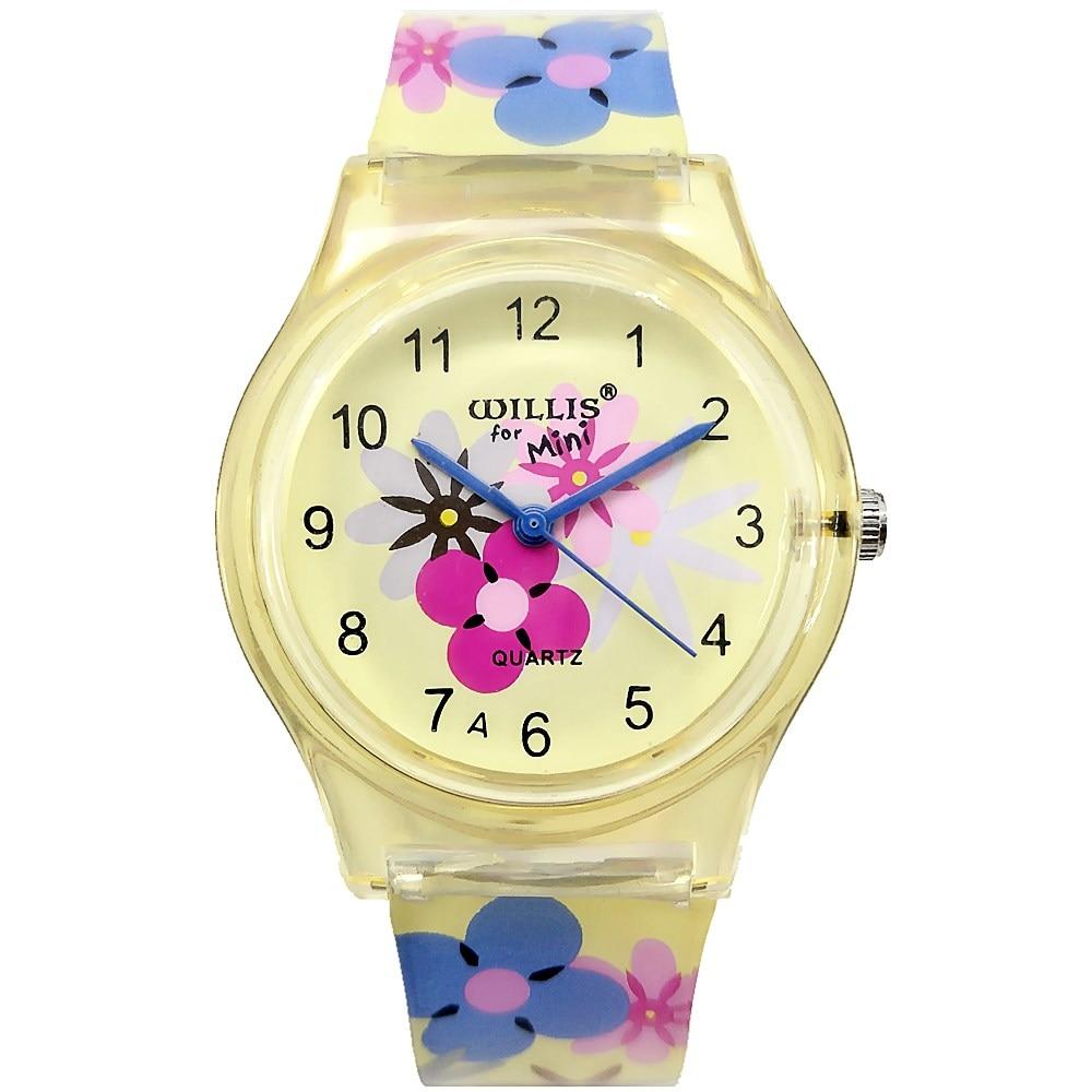Willis Brand Children Watches Rose Flower Strap Waterproof 1hz Clock Generator With Chip On Board Cob Silicone Bracelet Wristwatch Girls Fashion Mini Watch Gifts Clocks