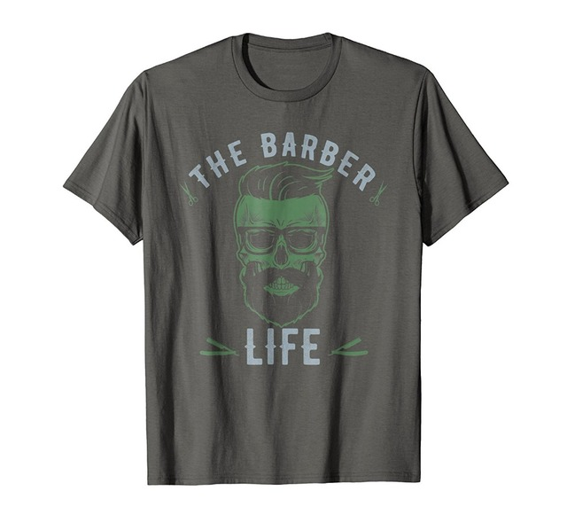 US $12 34 5% OFF|2019 New Trendy Hot Sale High Quality The Barber Life  Skull Haircut Shaving T Shirtletter Printed T Shirt-in T-Shirts from Men's