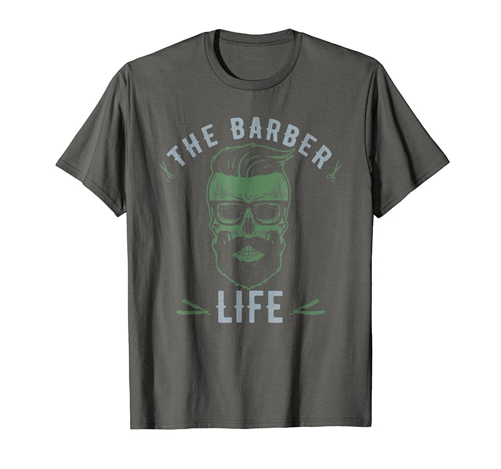 2019 New Trendy Hot Sale High Quality The Barber Life Skull Haircut <font><b>Shaving</b></font> T-Shirtletter Printed T <font><b>Shirt</b></font> image