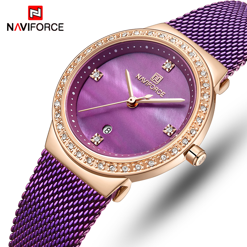 NAVIFORCE Women Watch Top Luxury Brand Fashion Dress Quartz Ladies Watches Stainless Steel Date Female Clock Relogio Feminino