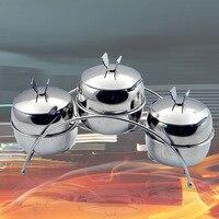 Fashion stainless steel spice jar sugar salt taste of the pot storage tank glove jar 3 pots in 1 set