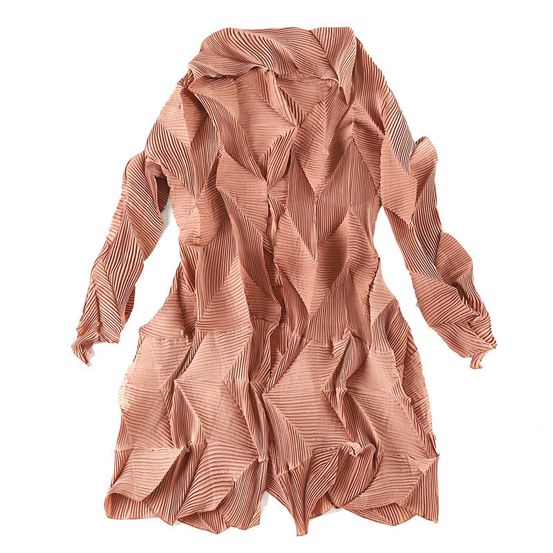 LANMREM 2019 New Fashion Gray Irregular Pleated Cardigans Coat Overcoat Female's Trench Vestido Black Gray YF237