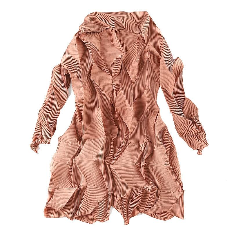 LANMREM 2020 New Fashion Gray Irregular Pleated Cardigans Coat Overcoat Female's Trench Vestido Black Gray YF237