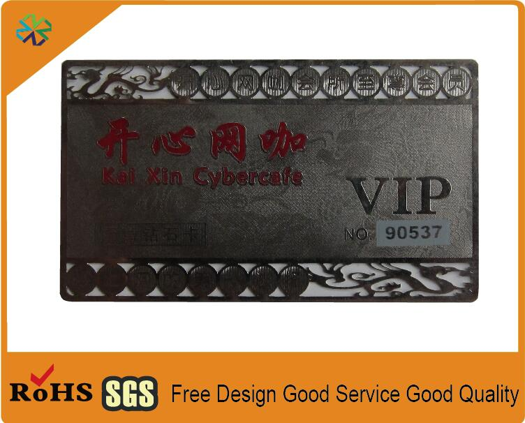 Silver stainless steel metal business cards metal vip silver stainless steel metal business cards metal vip caed manufacturer with cmyk printing engraved words cut out logo reheart Image collections