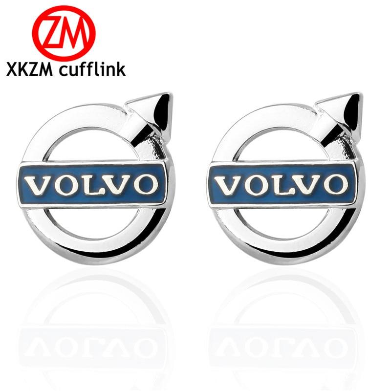 XKZM Luxury shirt silver round arrow blue car cufflink for mens Brand cuff buttons cuff links High Quality abotoaduras Jewelry