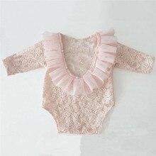 PUDCOCO Cute Neugeborenes Baby mяdchen/кружевной комбинезон с длинными рукавами и цветочным рисунком; одежда для детей 0-18 месяцев