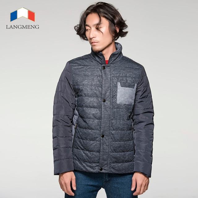 Langmeng 2015 nuevos hombres de la llegada ocasional warm parka de invierno grueso collar del soporte de marca chaquetas de los hombres outwear delgado empalme jacket coats