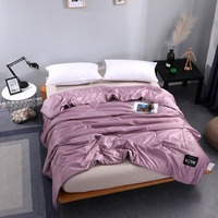 7 color Solid color Washed Cotton Air Condition Summer Quilt Breathable Bedding Blankets for Adults Children Plaids Bed Covers