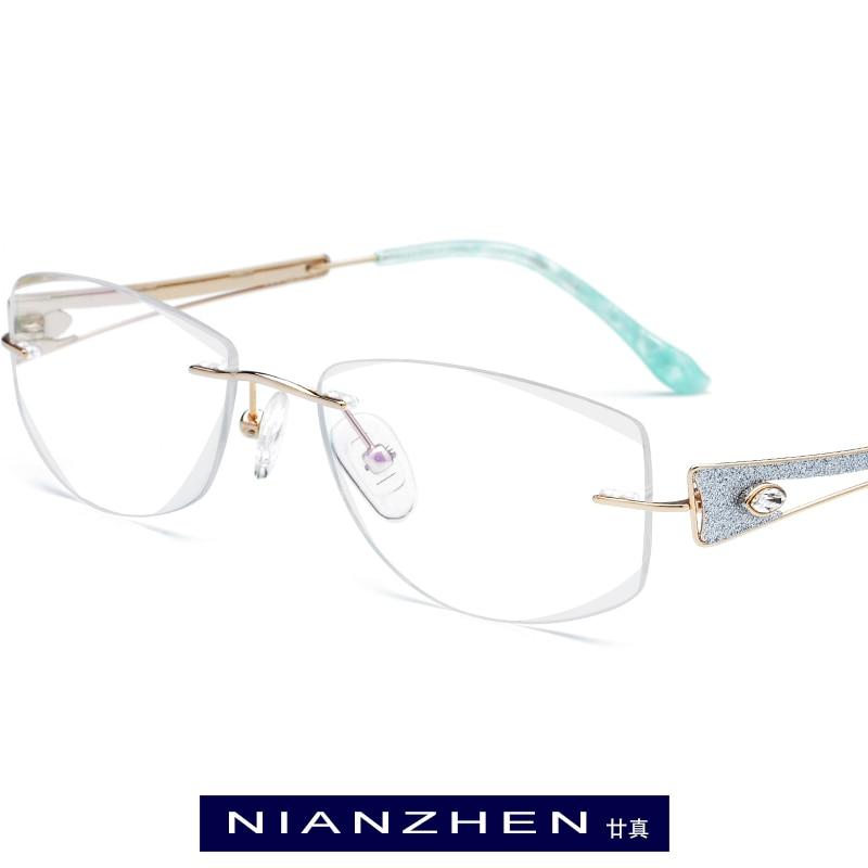 Brillen Rahmen Randlose Draht Titan Optische Diamant B Gläser Weibliche 7716 Trimmen Myopie Frauen Cut Rahmenlose Luxus aqE1nPwt