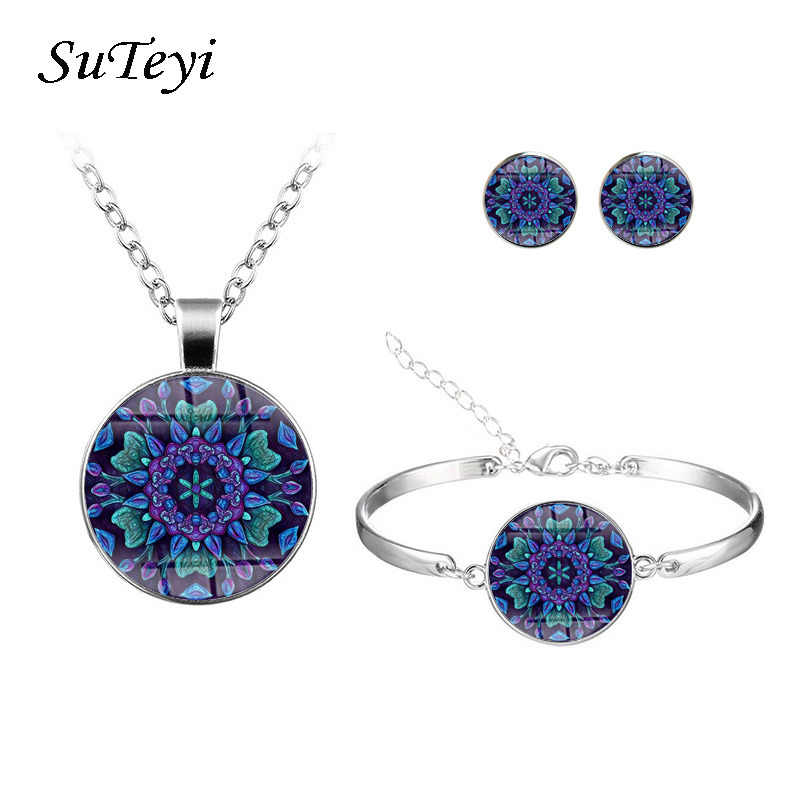 SUTEYI Deep Blue Chrysanthemum Jewelry Sets Elegant Women Round Glass Bracelet Earrings Necklace Sets Indian Style Jewelry