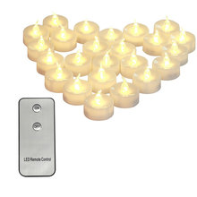 Pack of 2 Amber LED Candles with Remote, Battery Included,Tealights Remote candele ,Flickering white bougie anniversaire