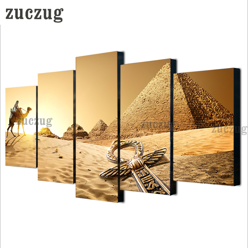 5 Panels Egypt Pyramid Canvas Print Home Decoration, Camels Picture ...