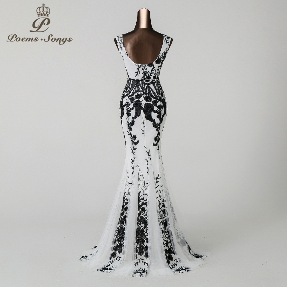 Image 4 - PoemsSongs2019 V neck Mermaid Evening Dress prom gowns Formal Party dress vestido de festa Backless Elegant Sequin robe longue-in Evening Dresses from Weddings & Events