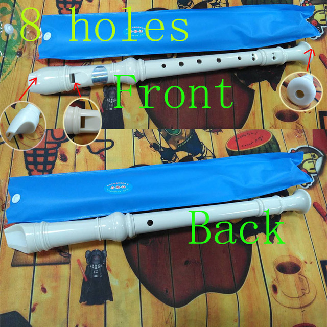 8 Holes Flute with Cleaning Stick Musical Instrument for Kids Beginners Plastics Instrument Recorder 7 Colors Flutes