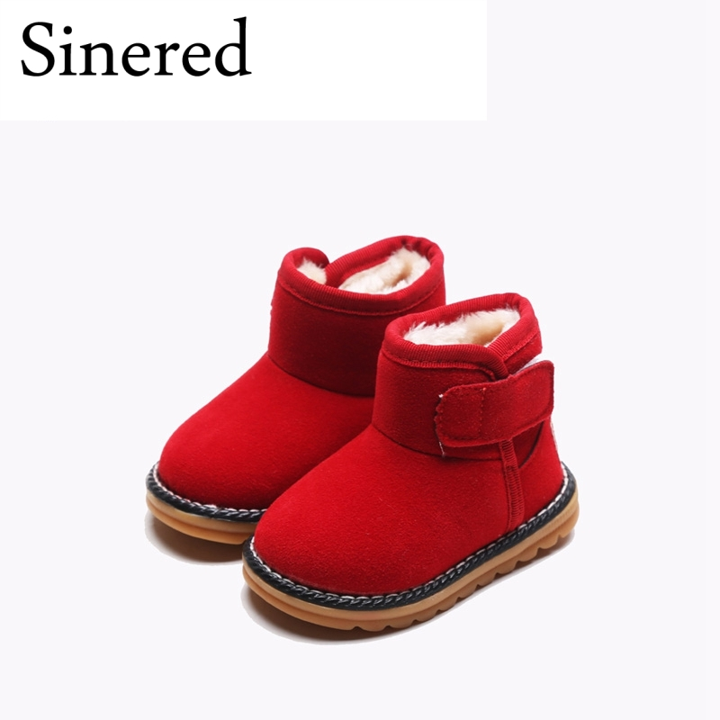 Sinered Childrens winter casual snow boots baby boys girls thick flock soft boots keep warm cattle tendon snow boots for kids ...
