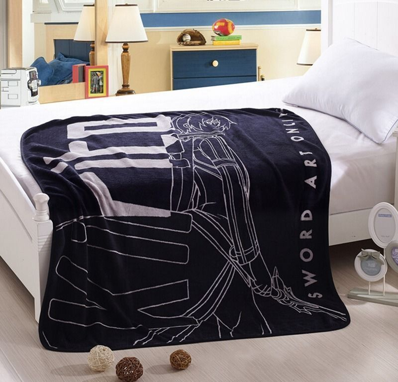 Anime Sword Art Online Kirito Blanket Warm Plush Coral Fleece Sofa Bed Air Conditioner Quilt Rug SAO Kirigaya Kazuto Cosplay