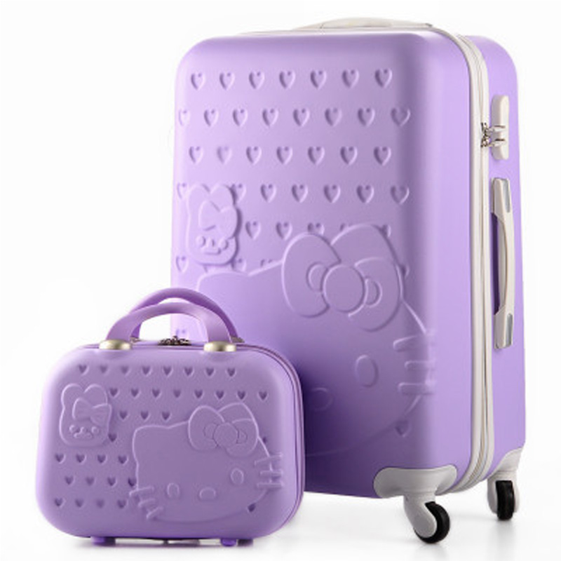 14+28Inch,Hello Kitty Travel Suitcase,Makeup Bag,ABS Spinner,Cartoon,Trolley Bag,Luggage Sets,rolling luggage,maleta de viaje hello kitty luggage set women kids suitcase bag abs carry ons hardcase travel box rolling trolley