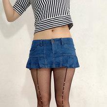 ee1e0b6b2c Sexy Mujer Plus tamaño plisado Micro Mini falda Jeans bolsillo etapa Falda  de baile bajo cintura