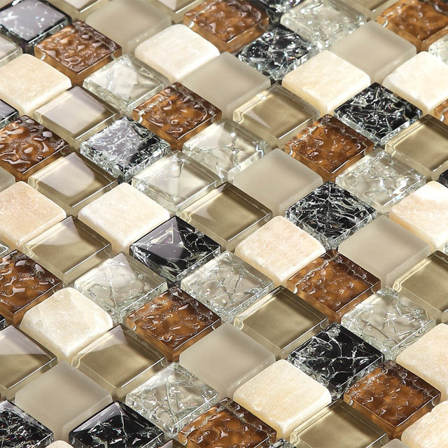 Brown Glass Mixed Stone Mosaic Tiles Bathroom Tiles Kitchen