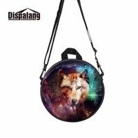 Dispalang Animal Round Backpack For Preschool Cool Wolf Boys Messenger Bags Kindergarden Travel Lightweight Bags