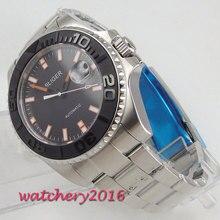 43mm Bliger Black Dial Sapphire Glass Ceramic Bezel Date Deployment Full solid 316L Strap Automatic Movement men's Watch цена и фото