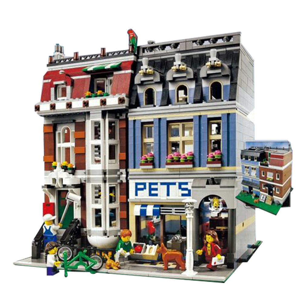 LEPIN 15009 2082Pcs City Creator Pet Shop Supermarket 10218 Model Building Kits Figures Blocks Bricks Compatible with lego lepin 02012 city deepwater exploration vessel 60095 building blocks policeman toys children compatible with lego gift kid sets