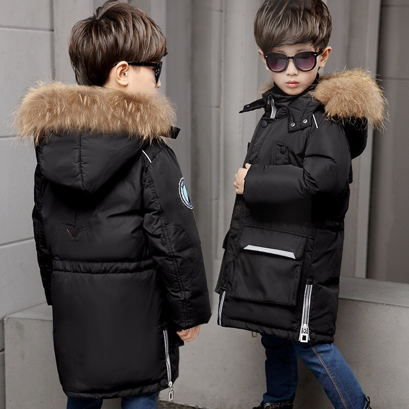 Boy 2017 new Korean big fur collar jacket winter for size 6 7 8 9 10 11 12 13 14 years child long thickened coat tide outerwear цены онлайн
