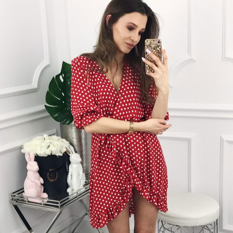 GUMPRUN Polka Dot Print Elagant Red Dress Women Sexy V Neck Ruffles Short Dresses Summer 2019 Casual Beach Dress vestidos female Платье