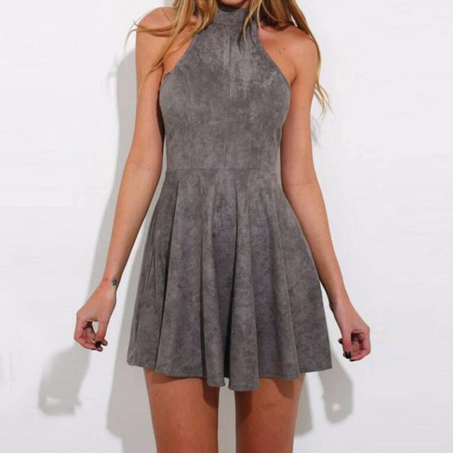 Women Preppy Style A Line Solid Sleeveless Draped Tank Empire Halter Spring Girls Cute Polyester Suede Lace up Dress