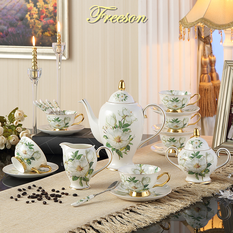 Europe Camellia Bone China Coffee Set British Porcelain Tea Set Ceramic Pot Creamer Sugar Bowl Teatime Teapot Coffee Cup Mug