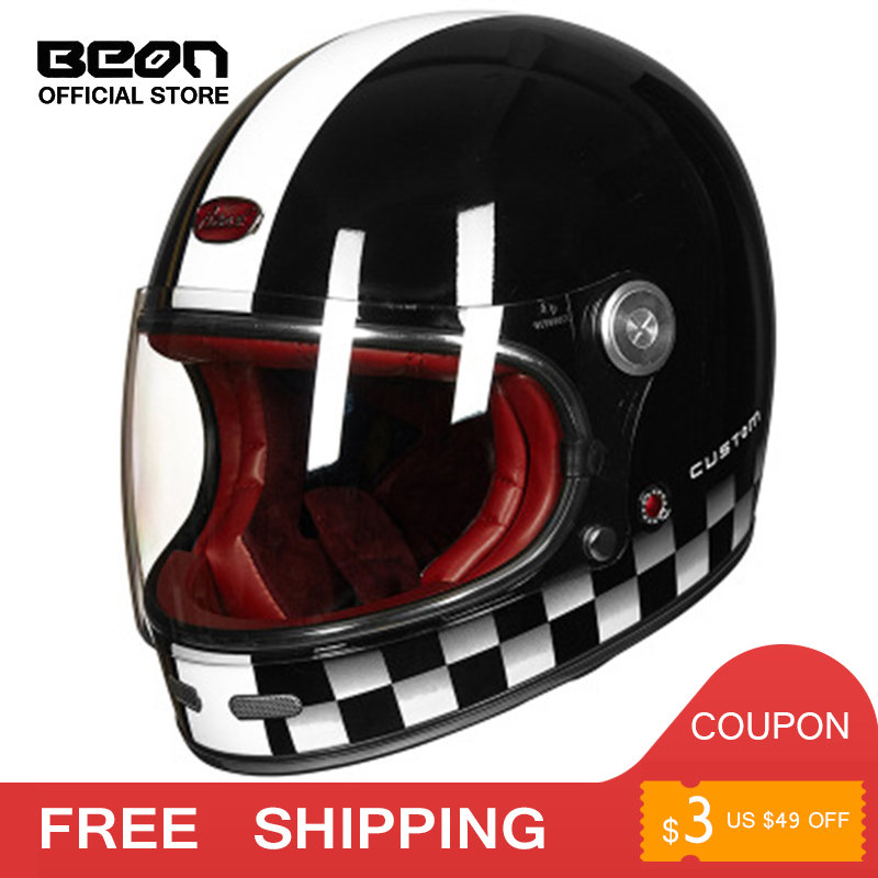 BEON Helmet Full Face Carbon Fiber Motocross Helmet Vintage Fully Covered Motorcycle Scooter Autocycle Retro Ultralight ECE