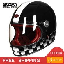 BEON шлем с полным лицом из углеродного волокна, шлем для мотокросса, винтажный полностью покрытый мотоциклетный скутер, автоцикл, ретро ультралегкий, ECE