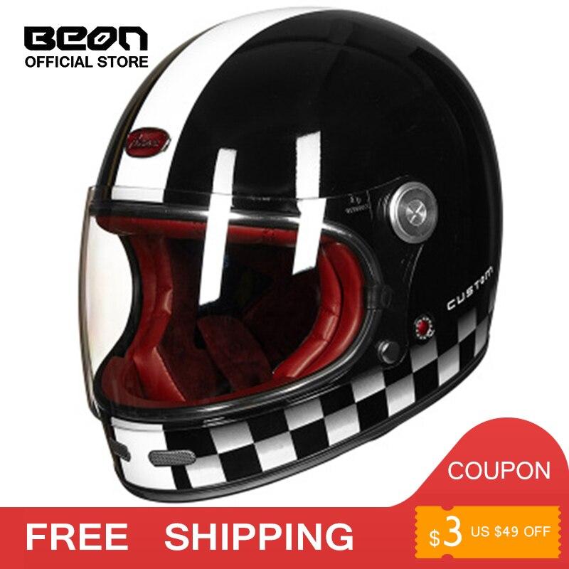 BEON casque intégral fibre de carbone casque de Motocross Vintage entièrement couvert moto scooter autocycle rétro ultraléger ECE