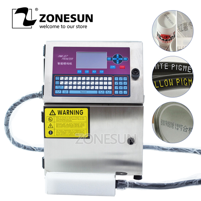 ZONESUN Automatic Glass Metal Steel Carton Batch Number Logo Mark Can Date Coding Inkjet Printer Digital Code Printing Machine