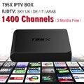 Europa Iudtv T95X Iptv Set Top Box Android TV Receptor 1400 + Cielo ES/UK/DE Francés Turco países bajos Canales Mejor Que MXV