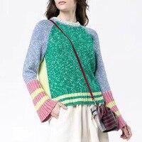 Разноцветный свитер Для женщин высокое качество 2018 новый зимний мода взлетно посадочной полосы Трикотаж пуловер свитера с круглым вырезом