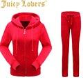 Juicy lovers 8 Color solid 2016 Women Tracksuit casual Suits Winter  Velvet Warm Lady Sweatshirt pants 2 piece sets 912