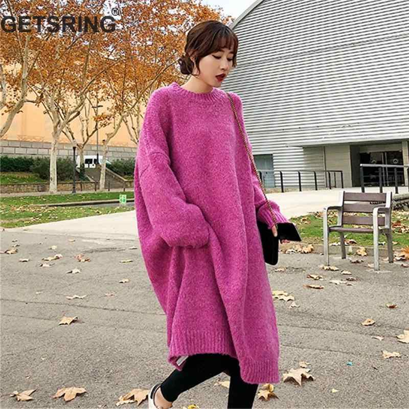 a7a5c11cdac GETSRING Для женщин платья вязаный свитер Длинные свободное платье толстый  шерстяной пряжи вязаные свитера платье нижнего