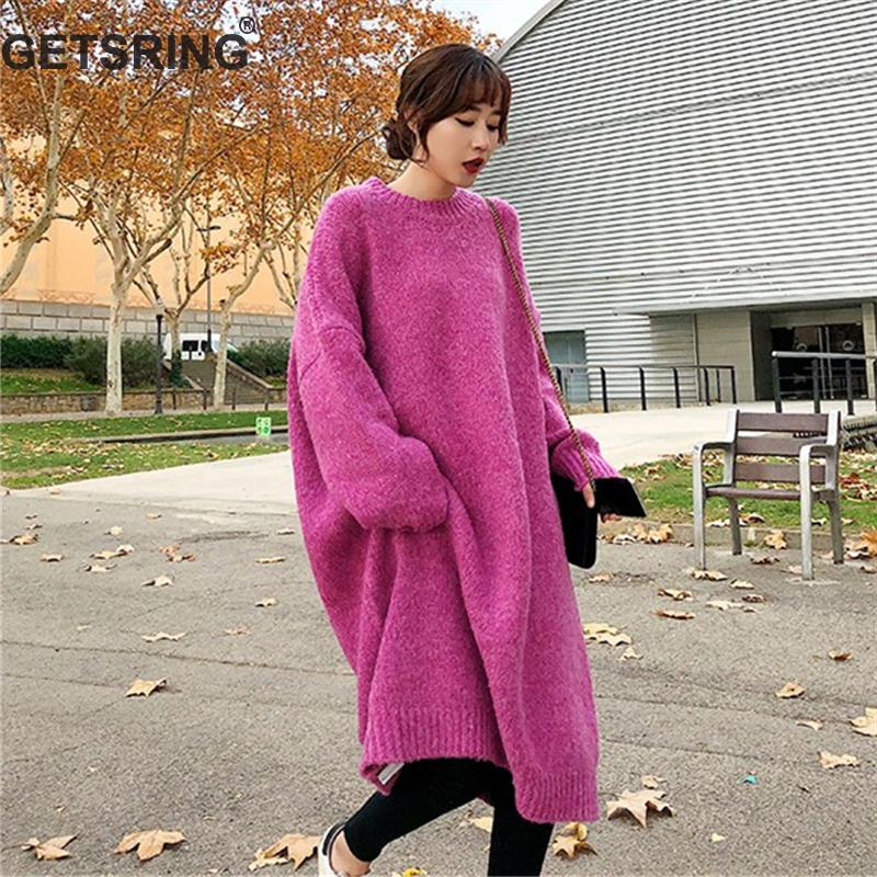 GETSRING Women Dresses Knitted Sweater Long Loose Dress Thick Woolen Yarn Knitted Sweaters Dress Bottoming Dresses Autumn Winter Платье