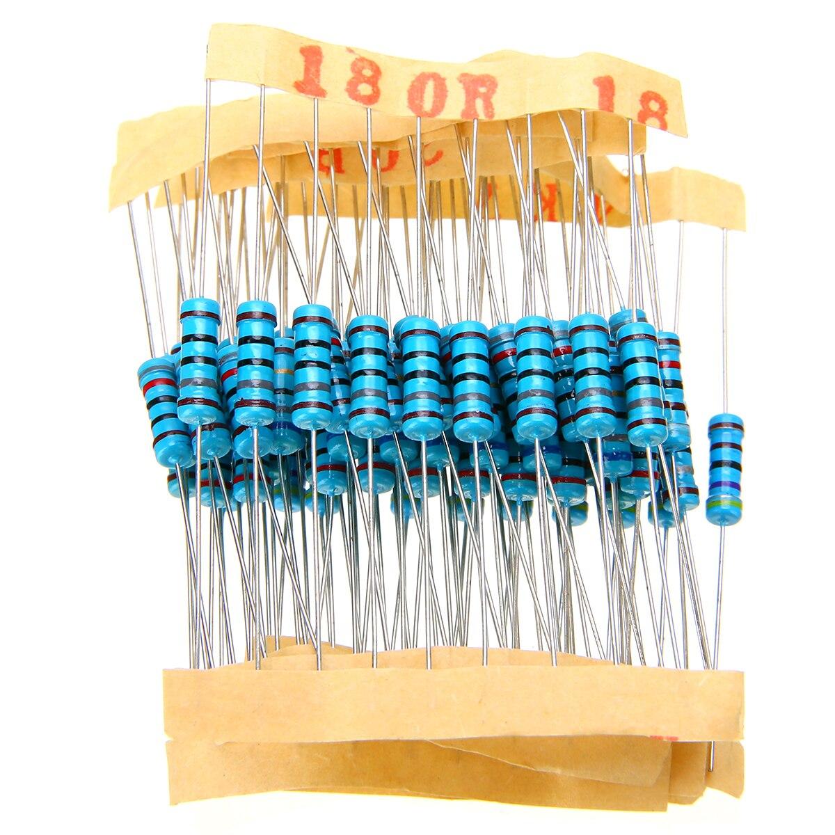 1000pcs 100 Values Metal Film Resistor Mayitr 1% 1W Resistance Assortment Kit Set 1 Ohm-10M Ohm